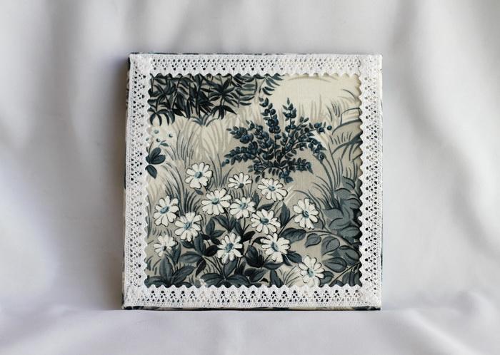 Tablou textil handmade flori dantela (1)