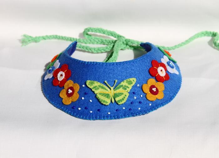 bijuterii handmade-colier fetru flori fluturi