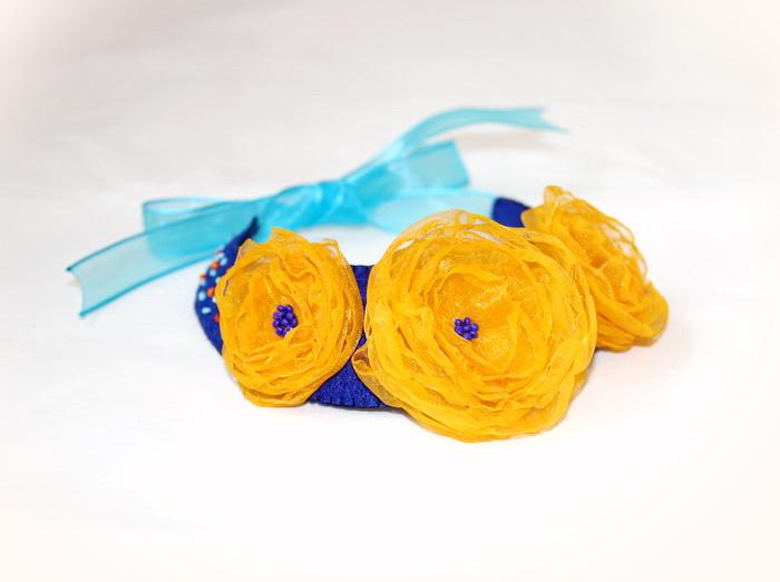 bijuterii handmade fetru- colier flori 2
